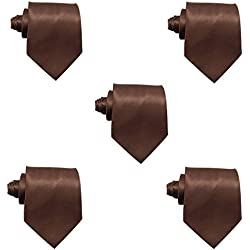 Mens Solid Satin 3.9 Inch Wide Formal Necktie Pack 5 For Wedding By JAIFEI (Brown)