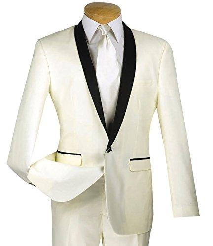 (Vinci Men's One Button Slim-Fit Formal Tuxedo Suit w/Satin Shawl Lapel New [Color Ivory | Size: 46 Regular/40 Waist])