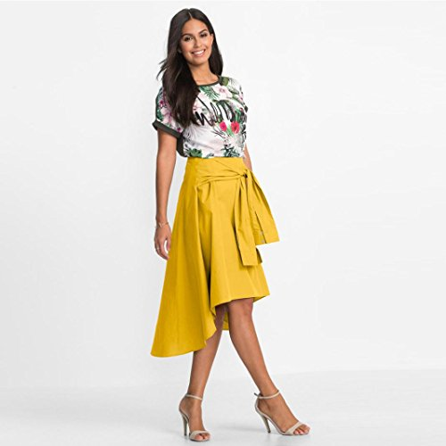 ESAILQ Work Ladies Mini Jaune Skirt Women Skirt Length Casual Flared Office Knee Skater FwxUFv6qr