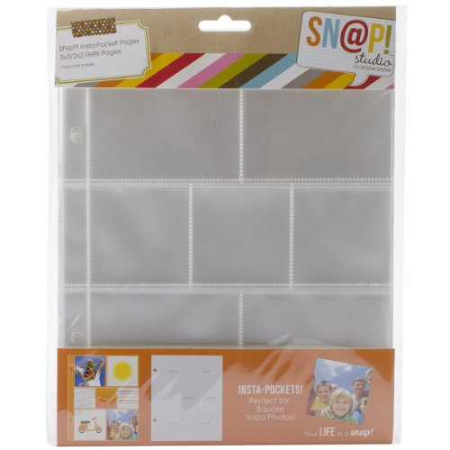 - Simple Stories Snatp! Insta Pocket Pages for 6 by 8-Inch Binders with 2 by 2-Inch and 3 by 3-Inch Pockets, 10-Pack