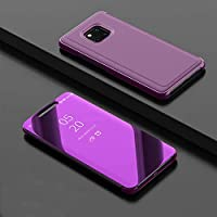 SevenPanda Huawei Mate 20 Pro Coque, Intelligente Fenêtre Effacer Galvanisierauflage PC Mirror Flip Folio Case Ultra Mince Corps Mince pour Hua wei Mate 20 Pro Béquille Case - Glamour Violet