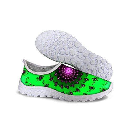 For U Diseñes Colorful Stripes Print Zapatillas De Running De Malla Casual Para Mujer Verde