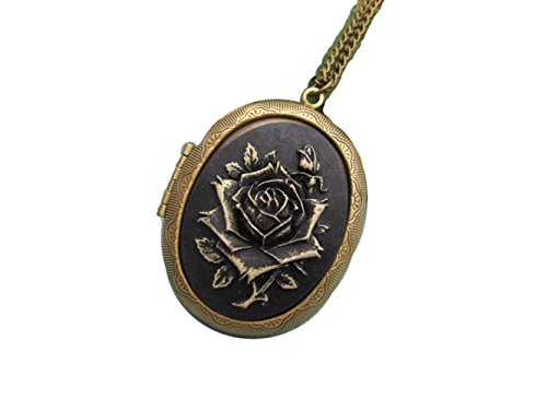 Black Rose Cameo Locket Necklace Love Rose Cameo Jewelry,Bronze Charm ()