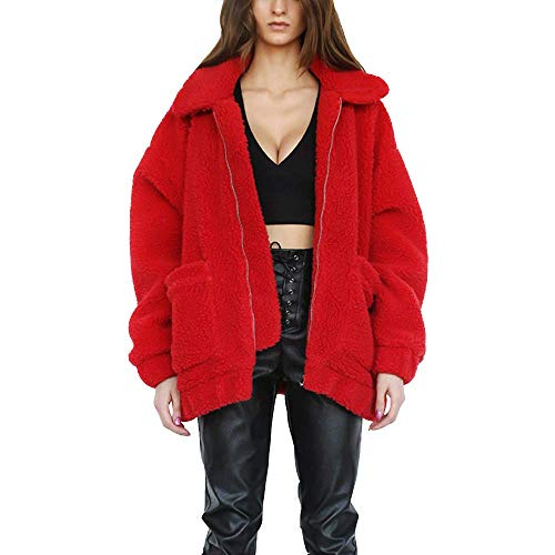 Womens Faux Shearling Jacket, Casual Lapel Fleece Fuzzy Jacket Shaggy Oversized Jacket Fashion Cardigan Coat (Red,S)