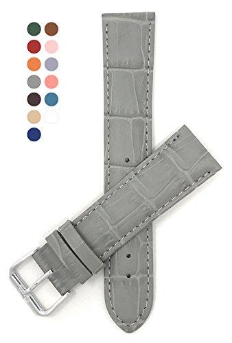 Strap Alligator Orange (18mm Grey Womens' Alligator Style Genuine Leather Watch Strap Band)