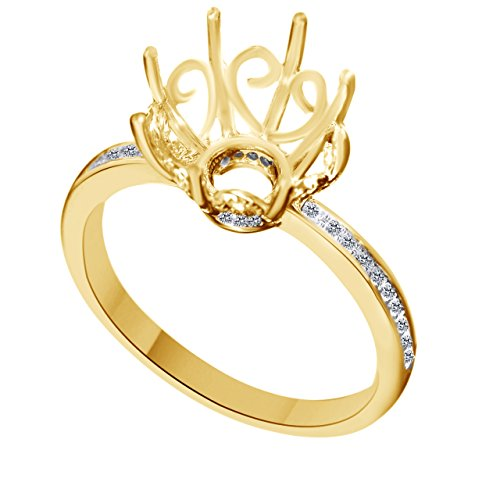 - White Natural Diamond Semi Mount Ring In 10k Yellow Gold (0.16 Cttw) Ring Size - 8