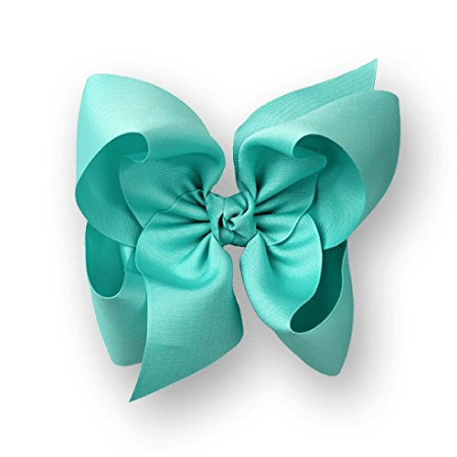 Aquamarine Clip - Beyond Creations Texas Size Grosgrain Hair Bow with Knot on French Clip (Aquamarine)