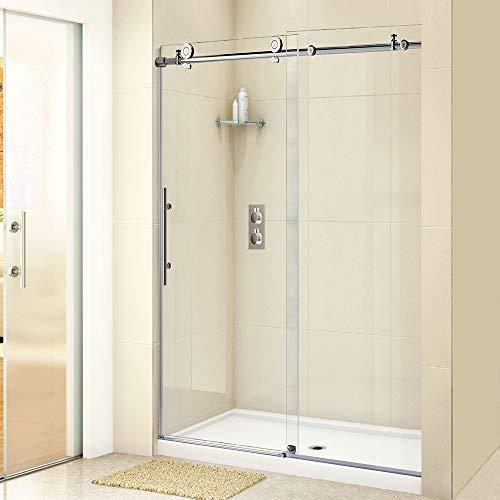 """WOODBRIDGE Frameless Sliding Shower Door, 44""""-48"""" Width, 76"""" Height, 3/8"""" (10 mm) Clear Tempered Glass, Finish, MBSDC4876-C, C-Series: 48""""x76"""" Chrome"""