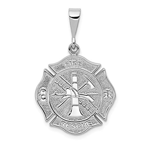 14k White Gold Fire Rescue Pendant Charm Necklace Career Professional Firefighter Fine Jewelry For Women Gift Set