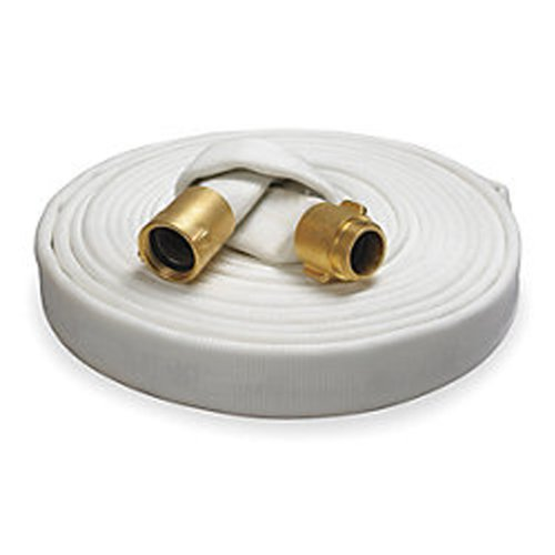 Key Fire Rack & Reel Fire Hose, White, 1-1/2'' ID, 100 feet, 500 PSI Burst Pressure, M x F NST Brass Connectors by Key Fire Hose