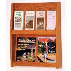 DMD Literature Display Rack, 8 Pocket Magazine and Brochure Rack with Medium Oak Wood Finish -