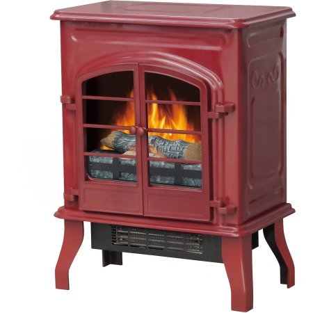 Decor Flame Electric Stove Heater Glossy Red