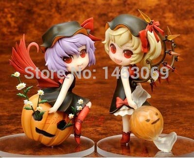 Allegro Huyer Anime Touhou Project Remilia Scarlet & Flandre Scarlet in Halloween Suit with Pumpkin Action Figure Collectible Toy 2pcs/Set