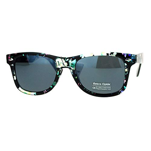 Floral Flower Print Sunglasses Classic Designer Fashion Square Frame Black ()
