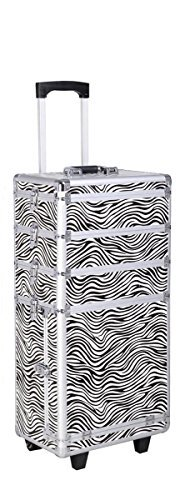 Eight24hours Aluminum 4 in 1 Rolling Makeup Trolley Train Case Box Organizer Salon Cosmetic - Zebra