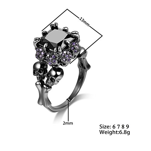 DALARAN Gothic Jewelry Skull Ring Size 9 Silver Band High Polished Comfort Fit Women Men Accessories by DALARAN (Image #5)