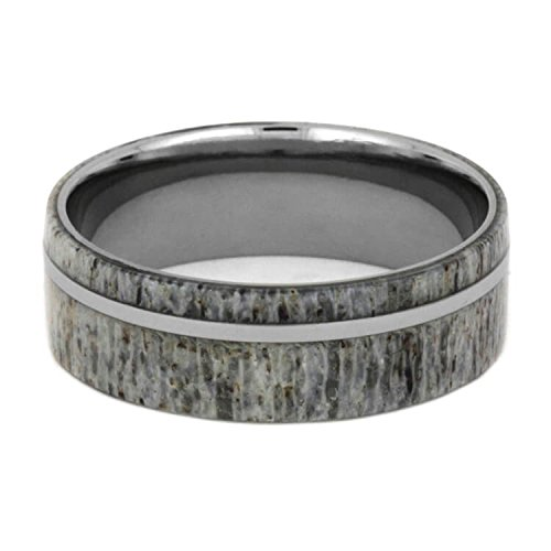 Deer Antler 8mm Comfort-Fit Titanium Wedding Band, Size 9 by The Men's Jewelry Store (Unisex Jewelry) (Image #2)