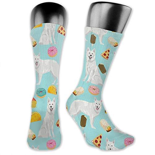 OFFWAYA White German Shepherd Premium Cotton Casual Socks, Funny Colorful Pattern Dress Socks for Men Women ()