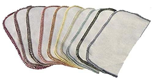 1 Ply Organic Flannel Washable Baby Wipes 8 x 8 Inches Set of 10 Earthtone Assortment