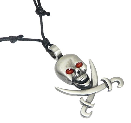 Pewter Pirate Skull and Cross Bones Pendant on Black Cord Necklace - Adjustable 36 - 72 cm ()