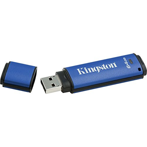 Kingston Digital 64GB Data Traveler AES Encrypted Vault Privacy 256Bit 3.0 USB Flash Drive (DTVP30/64GB) by Kingston