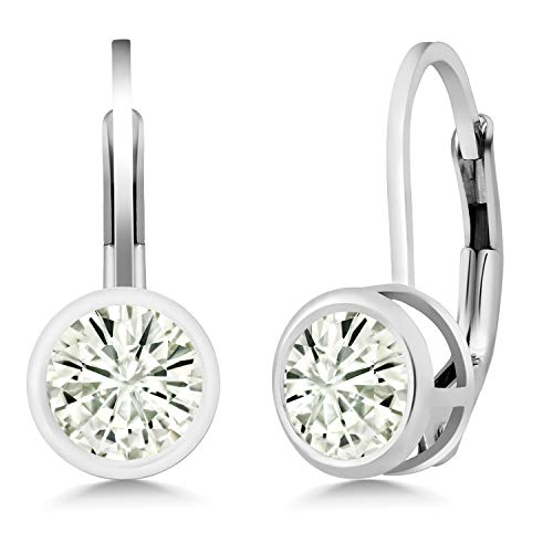 (925 Sterling Silver Dangle Earrings Forever Classic Round 1.00ct (DEW) Created Moissanite by Charles &)