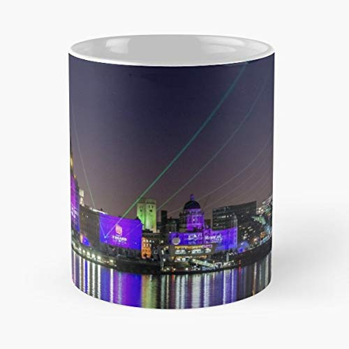 Liverpool Light Show Cunard Royal Liver Building - White -coffee Mug- Unique Birthday Gift-the Best Gift For Holidays- 11 Oz.