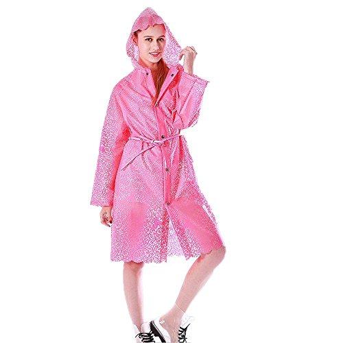 女性モデル ローズ アウトドア ハイキング 観光 レインコート ロングセクション 大人 レース 半透明 レインコート レースタイプ 帽子 ポンチョ 軽量 レインウェア 防水 携帯袋付き