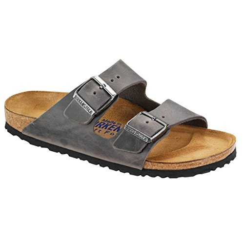 Birkenstock Unisex Arizona Iron Oiled Leather Sandals - 42 M EU/11-11.5 B(M) US Women/9-9.5 B(M) US Men