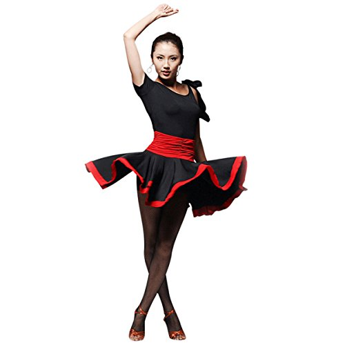 Faship Womens Dance Dress Black Red Ballroom Latin Tango Rumba Cha Cha Samba Black Medium