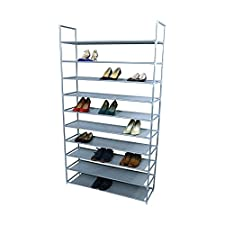 SmartHome 10 Tiers Shoe Rack 50 Pairs Non-woven Fabric Shoe Tower Storage Organizer Cabinet Grey