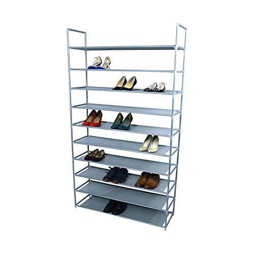SmartHome 10 Tiers Shoe Rack 50 Pairs Non Woven Fabric Tower Storage Organizer Cabinet Grey