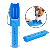 XUANRUS Dog Travel Water Bottle, Portable Pet Water Dispenser Drink Bottle Daily Walks, Hiking, Camping, Beach, BPA Free Plastic Pet Food Box … (Blue)