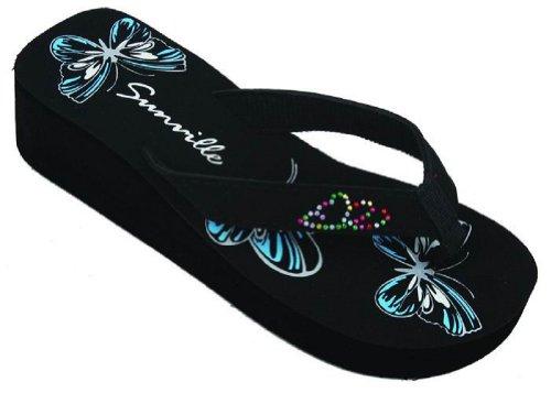 Women Wedge Platform Fashion Thong Sandals Filp Flops #2338 (6, Blue Butterfly)