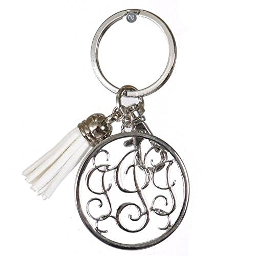 (Initial Jewelry Personalized Monogrammed Alphabet Initial Letter Keychain, Key Ring, Bag Charm w/Tassel (I-Silver))