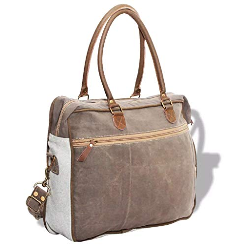 Real Shoulder Leather And Stylizio Bag Blue Canvas Cream TB4q4IHF