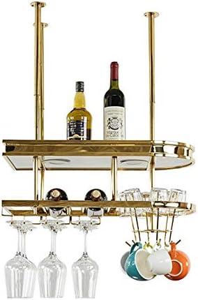 ワイングラスラック 赤ワイングラスホルダークリエイティブステンレス鋼は、アップサイドダウンホームバーはワインゴブレットホルダーラックハンギング ステムウェアラック (色 : Gold, Size : 30x32x80cm)
