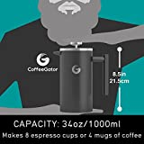 French Press Coffee Maker | 34 Oz | Best Premium Quality Stainless Steel Cafetiere - Keeps Coffee Hotter Longer With Vacuum Insulated Sides - FREE Mini Coffee Storage Canister