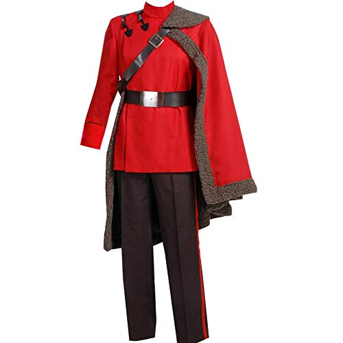 Adult Mens Wizard Cosplay Costume Red Suit Cape Outfit Jacket Halloween (XXL)]()