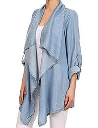 HowFitU Women Fashon Irregular Casual Loose Denim Jeans Coat Jacket Long Outerwear
