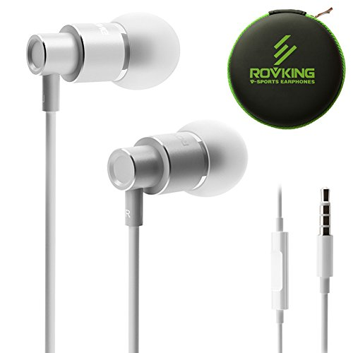 ROVKING Wired Earbuds with Microphone and Case, Stereo Noise Isolating in Ear Headphones with Deep Bass, Metal Ear Buds Earphones for iPhone, iPad, iPod, Samsung Cell Phones, MP3, Laptop, Silver