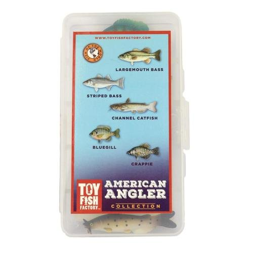 American Angler Collection Toy Fish Set Largemouth Bass Crappie Bluegill Catfish