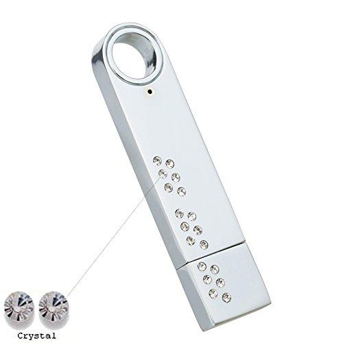 Price comparison product image Faost Design 32Gb Swarovski Crystal DM328632 Mirror Chrome Metal Case Handmade USB 2.0 Flash Drive Memory Stick Pen drive Crystal (White)
