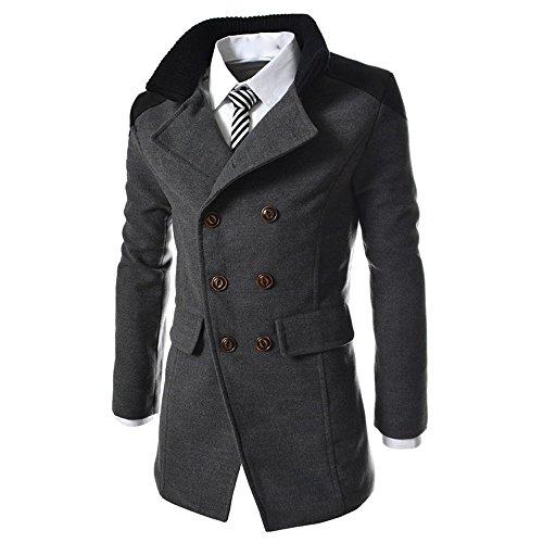 Cappotti lana Angelof caldo lana invernali Cappotti Cappotti Cappotti in Grigio coat Trench uomo stile in per fwq0O