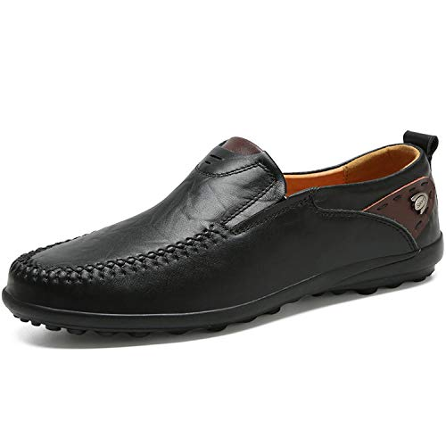2019 Genuine Leather Italian Men Loafers Moccasins Slip on Mens Boat Shoes,Black,5.5