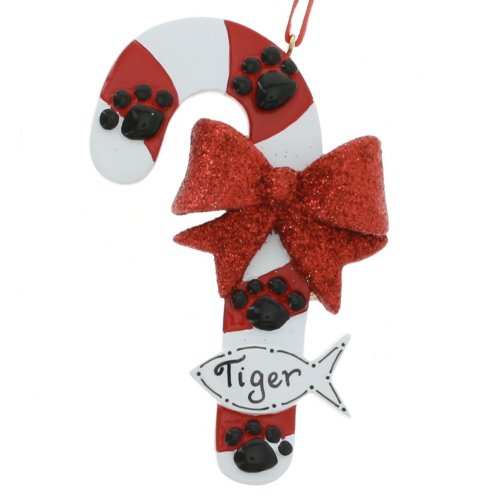 Cat Candy Cane Personalized Ornament ()