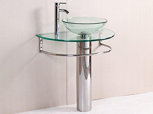 GHP Home 30''x18''x35.4'' Modern Glass Bathroom Vanity w Chrome Towel Bar