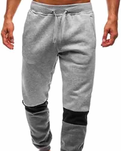 WAWAYA Mens Drawstring Elastic Waist Workout Summer Sweatpants Jogger Pants