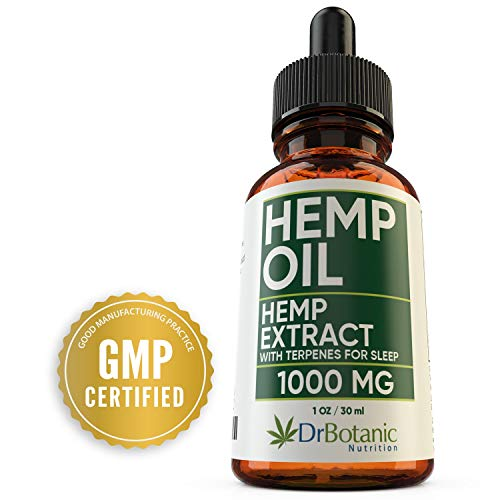 Hemp Oil For Anxiety: With 1000mg Hemp Extract: Valerian Root and Melatonin. Helps Better Sleep, Stress, Inflammation, Pain Relief. Tincture Drops Rich in Omega 3-6-9: DrBotanic Nutrition