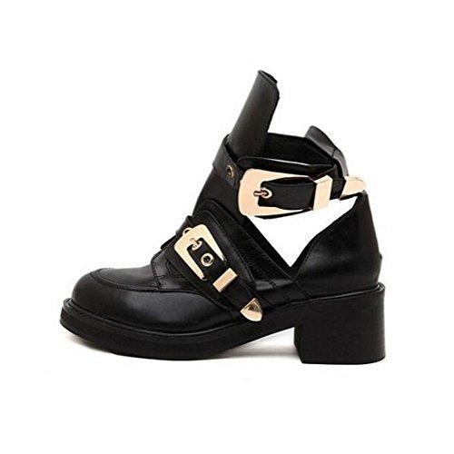 las de YWNC Hebilla Hilo 35 vacío altos 39 Zapatos Plataforma 36 Hebilla Zapatos impermeable Tacones 2018 38 Negro Nuevo de Estilo mujeres cinturón punky solos black pequeños 37 Primavera xqxrTa